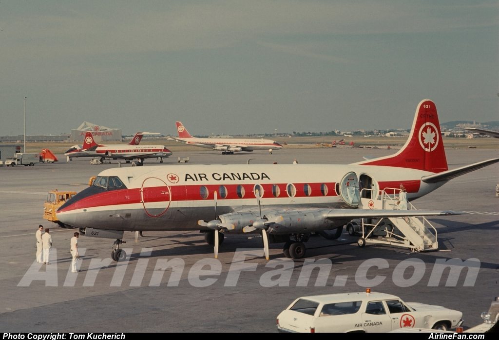 Air Canada Vickers Viscount CF-THC seen from the observation deck at a very Montreal Dorval in July of 1971, the photo being taken by Tom Kucherich.
