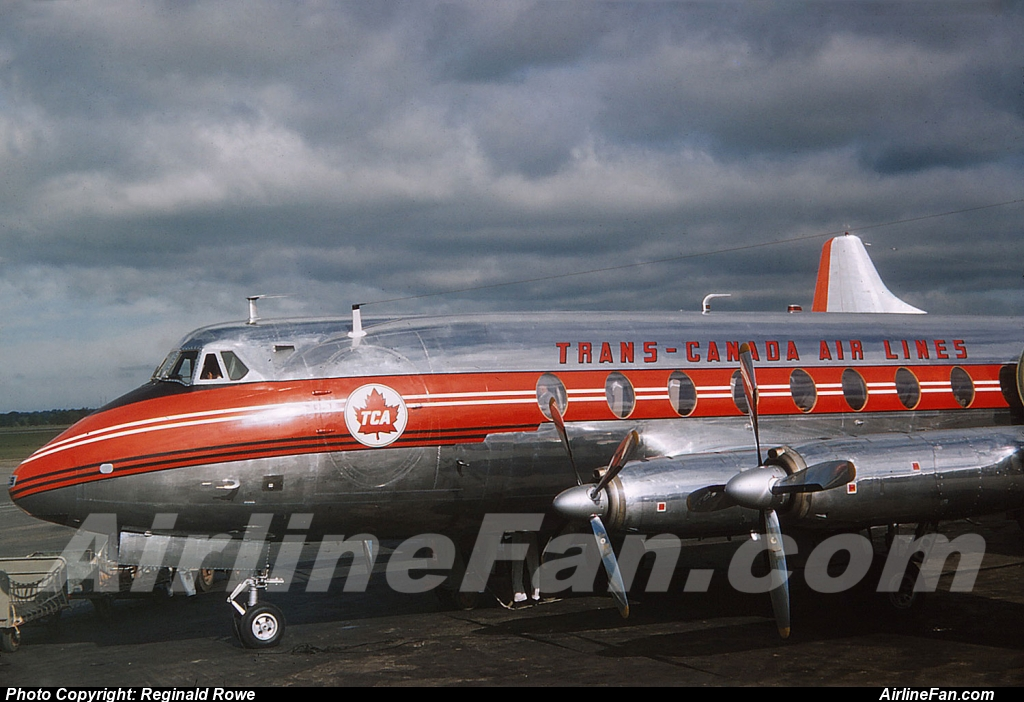 TCA Viscount looking brand new at Toronto Malton, 1956. No other information is known about this beautiful kodachrome slide.
