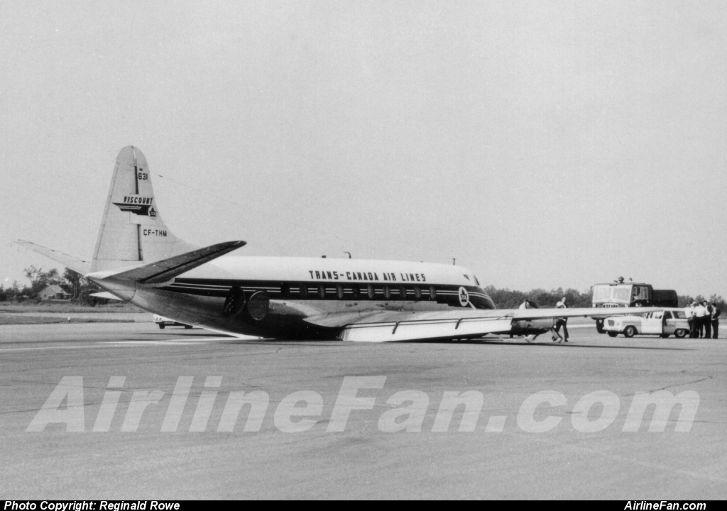 TCA Viscount CF-THM gear up landing at Montreal Dorval 1961.