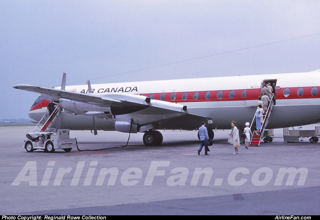 Passengers boarding Air Canada Vickers Vanguard CF-TKU at Montreal Dorval, June 1965. This Vanguard was sold by Air Canada to Air Holdings Limited in 1969 as G-AZNG in trade for Lockheed L-1011s.