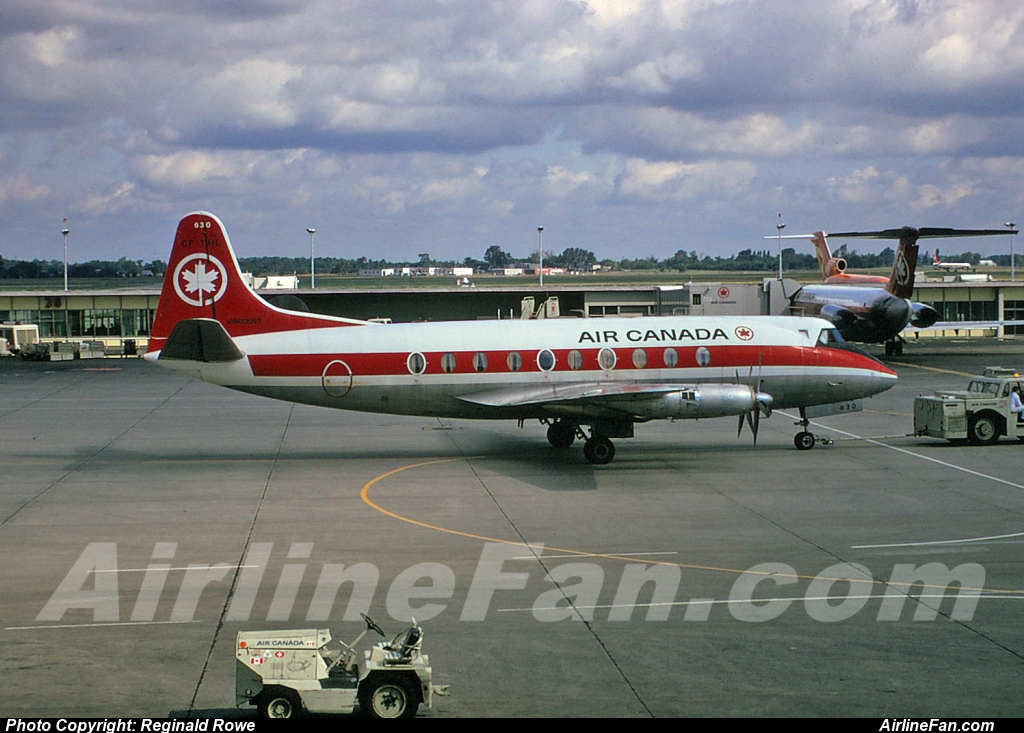 Air Canada Vickers Viscount CF-THL seen from the observation deck at Montreal Dorval in September of 1973, just a year before the Air Canada Viscount fleet was retired.