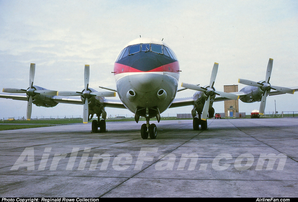 The signature front office nose on shot with the lovely view of the engines and beefy props and trademark black nose Air Canada Vickers Vanguard at Toronto Malton, October 1969. The font view of a Vanguard is pure magic.
