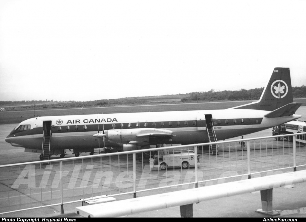 Air Canada Vickers Vanguard CF-TKH awaits passengers on the Dorval apron as viewed from the once sprawling open air observation deck at Montreal. In this case the photo was taken in 1967, and the Vanguard is carrying the small Expo 67 logo by the right sill of the rear passenger door. CF-TKH was sold to Europe Air Service in 1972 as F-BTOU.