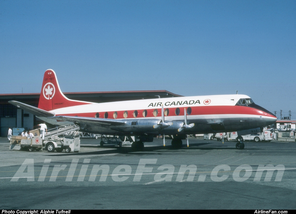 Air Canada Vickers Viscount CF-TGT is serviced between flights at Vancouver's old South Terminal Building in June of 1967. This particular Viscount was delivered to TCA on August 4, 1955, and was WFU in 1969. She was broken up at Winnipeg in 1970.