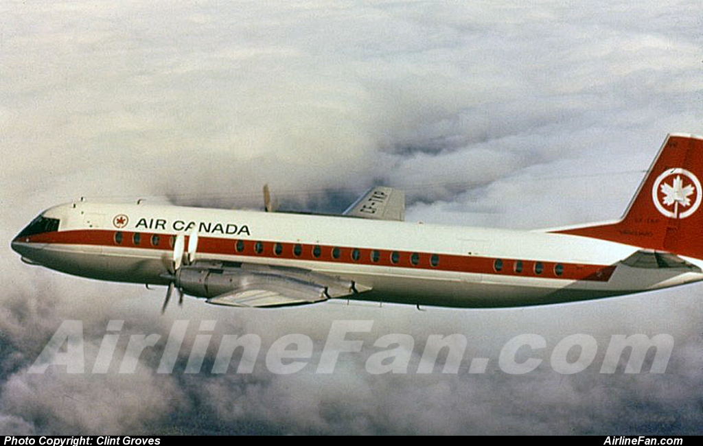 Yet another nice profile view of Air Canada Vickers Vanguard CF-TKP during her air-to-air company name rebrand publicity shots back in 1965, from Air Canada archives.