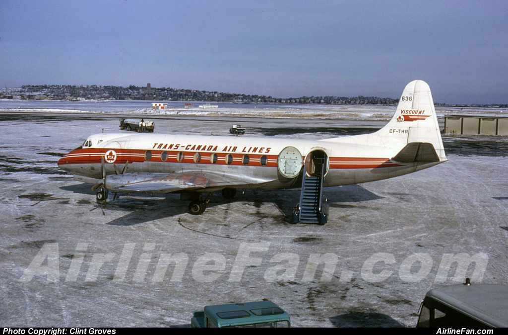 TCA Viscount CF-THR at BOS on 12-22-63, David W Lucabugh photographer. This was Air Transport Photography slide nr V700559 from Clint Groves ATP collection.